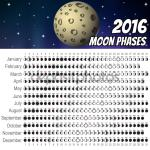 Moon Phases Calendar 2016. Cartoon moon, Vector Illustration