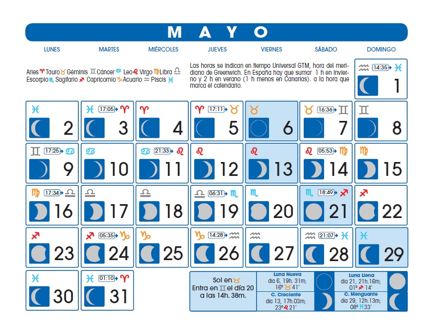 Lunas mayo astrologia y vida Calendario 2017 con lunas